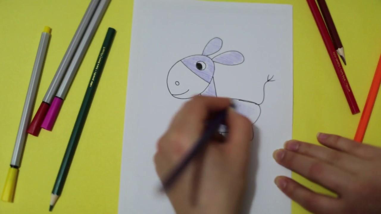 Nasıl çizilir Basit Hayvan çizimi Boyama Eşek Kolay Iyor Resmi