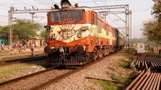 INDIAN RAILWAYS Delhi-Agra Cantt Passenger with military coach behind ET WAM4 # 20695