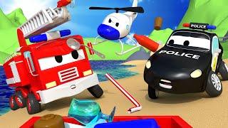 Авто Патруль -  Мусор на пляже - Автомобильный Город  🚓 🚒 детский мультфильм