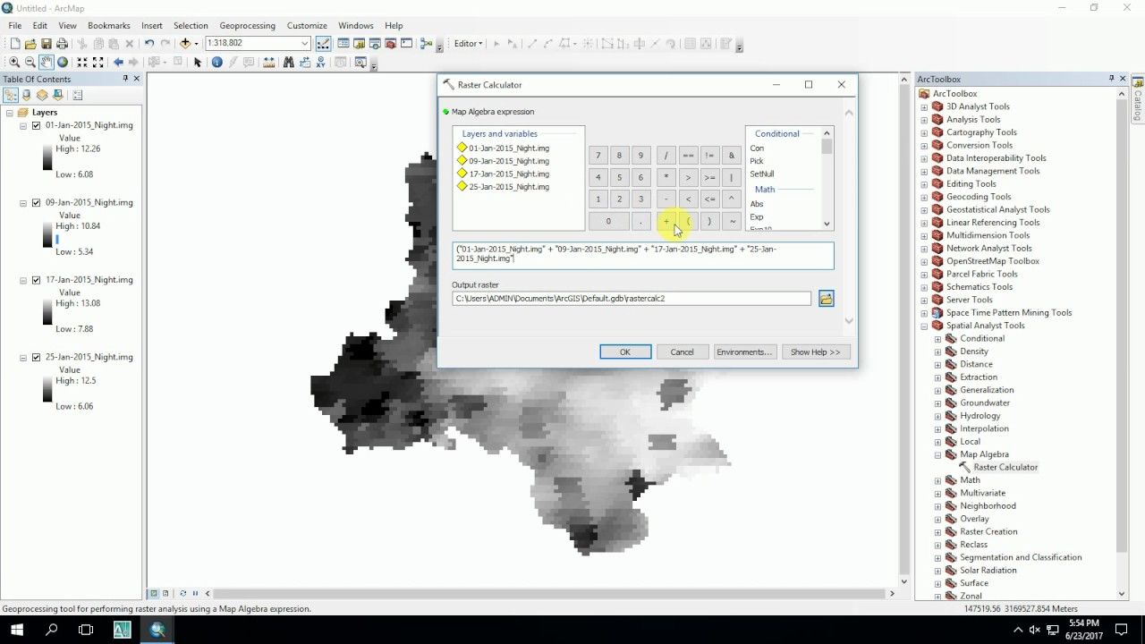 ESRI ArcGIS: RASTER CALCULATOR - Generate Mean MODIS LST Image