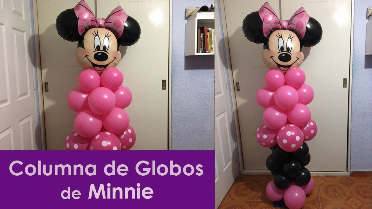 Columna de globos minnie youtube - Como decorar columnas ...