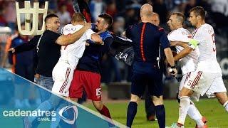 Suspenden el partido Serbia vs Albania por confrontación entre jugadores