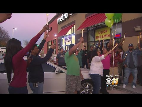 Community Gathers To Remember 'Wonderful Person From This World' Outside Lewisville Liquor Store
