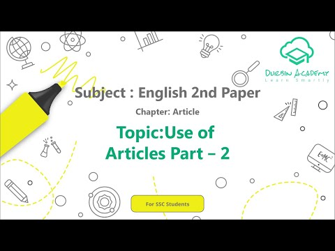 5  English 2nd Paper SSC   Article   Use of Articles   Part 2