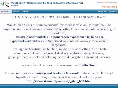 DELTA LLOYD VERLAGING HYPOTHEEKTARIEF PER 11 NOVEMBER 2013