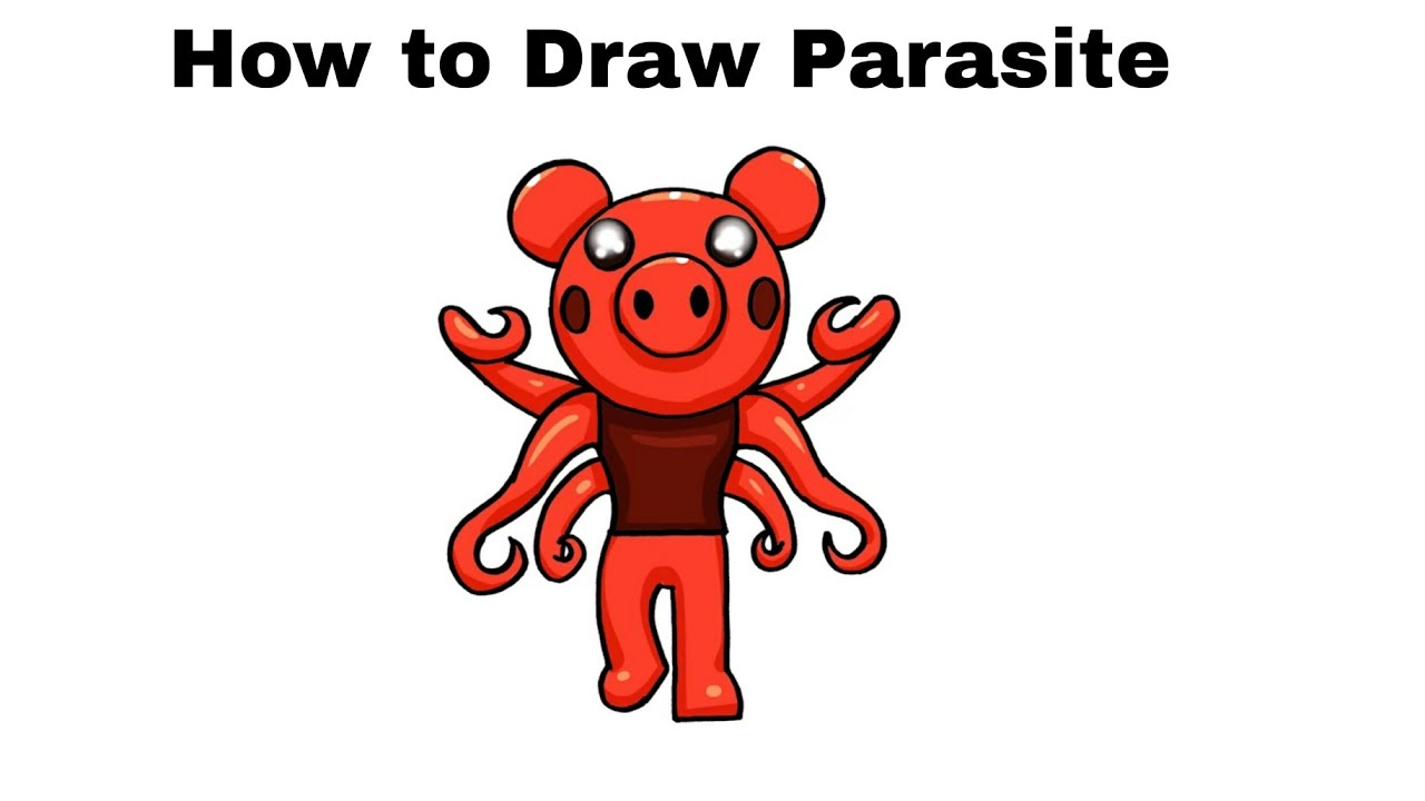 How To Draw Parasite Roblox Piggy Step By Step Youtube