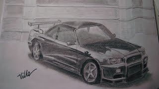 Nissan Skyline Speed Drawing
