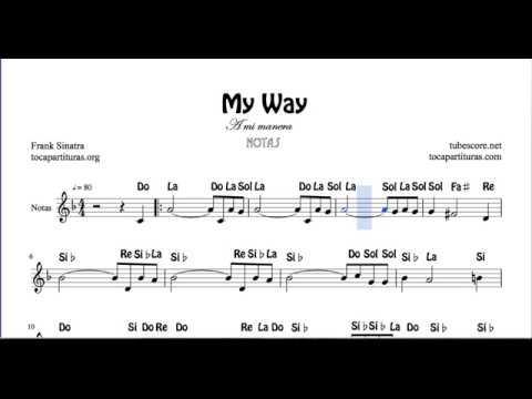 A mi manera Partitura con Notas Flauta Violín Oboe My Way