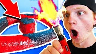 8 FOOT GUMMY SNAKE vs BLOW TORCH!