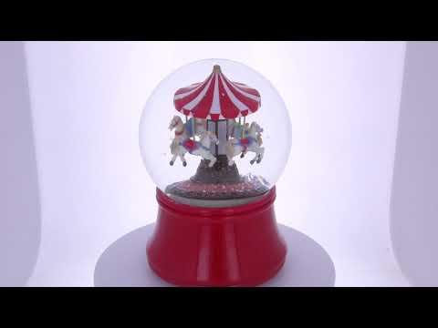 Carousel with Rotating Horses Music Box Snow Globe