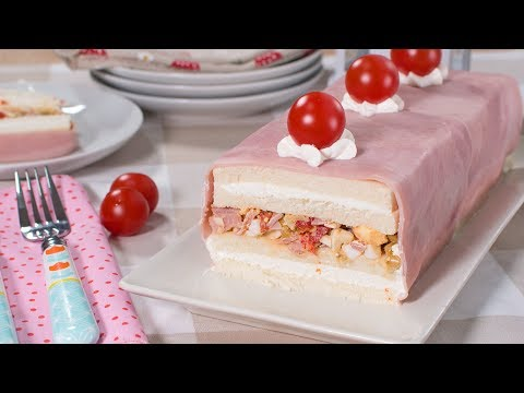 Pastel frío de pan de molde RELLENO de Jamon York y Queso | Tarta Salada Fácil y Rápida