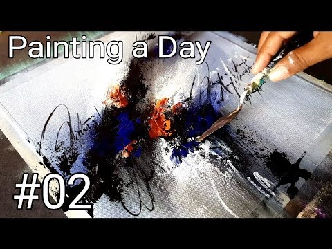 Abstract Painting / Acrylics / Painting A Day #02 / Project 365 Days / Demonstration
