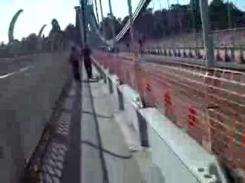 Walking on Bristol Suspension Bridge over River Avon