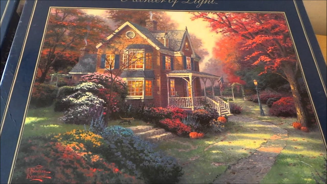 Top 3 Thomas Kinkade Jigsaw Pictures With Victorian Autumn St Nicholas Circle And Village Lighthouse
