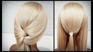 Быстрая прическа из резинок для самой себя.A quick hairstyle for yourself from elastic bands