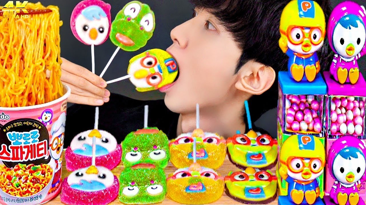 ASMR PORORO FOOD CANDY JELLY DESSERTS PARTY 다양한 뽀로로 디저트 먹방 NOODLE MUKBANG EATING SOUNDS 咀嚼音 モッパン