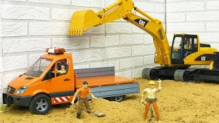 BRUDER TOYS truck and excavator action video for kids! Construction toys