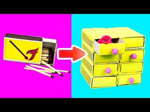 DIY BARBIE HACKS AND CRAFTS: 7 Miniature Matchbox Crafts for Barbie Dolls
