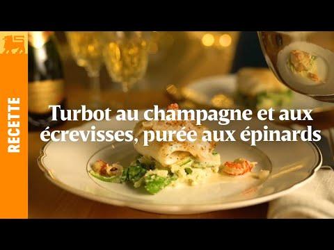 Turbot au champagne et aux écrevisses, purée aux épinards