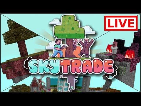 🔴LIVE BUILDING MY HOUSE!! Skytrade Minecraft SKYBLOCK Survival (10)