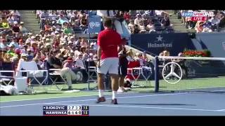 Stanislas Wawrinka Breaks his Racquet Vs Novak Djokovic US Open SF 2013