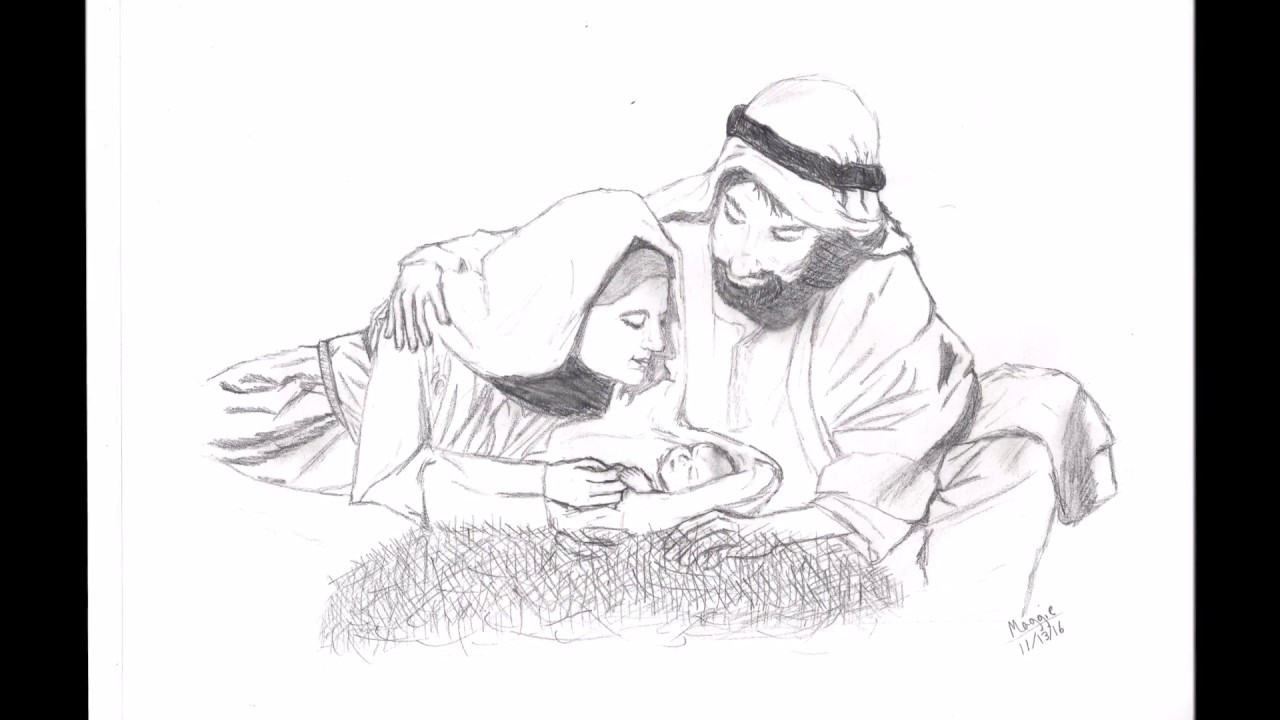 Speed Drawingthe Birth Of Jesus Youtube