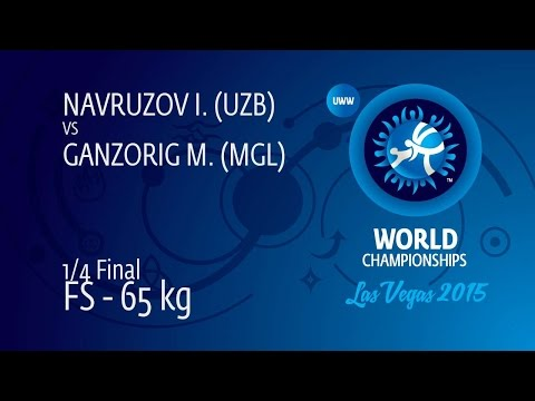 1/4 FS - 65 kg: I. NAVRUZOV (UZB) df. M. GANZORIG (MGL) by TF, 11-3