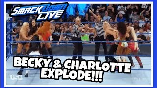 LOCKER ROOM HAVE TO SEPERATE CHARLOTTE FLAIR & BECKY LYNCH reaction | WWE Smackdown Live 8/21/18