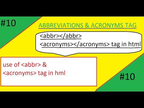 #ABBR TAG| #ACRONYMS TAG| Abbr  Tag Acronym Tag In Html |use Of Abbr  Acronyms Tag In Html