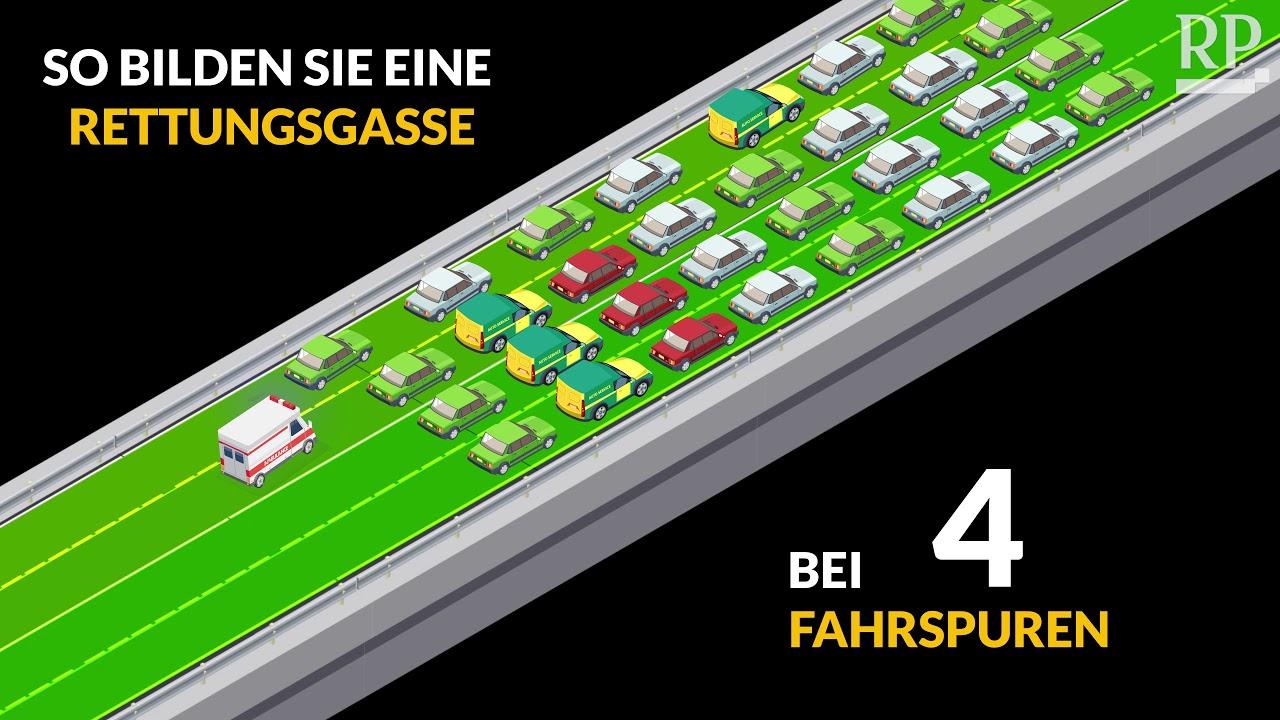 Rettungsgasse Bilden Bei 2 3 Oder 4 Spuren Auf Der Autobahn