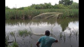 Залезли на ЧУЖОЙ водоём. Рыбалка КАСТИНГОВОЙ сетью.