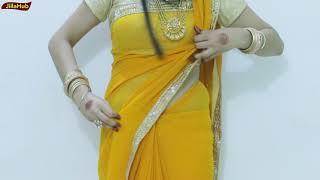 How To Drape Flat Front Style Saree | Thin Pleats Pallu Sari Wearing | Howto Wear Perfect Saree