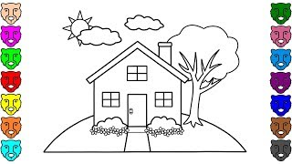 House Coloring Pages for Kids | Drawing House for Learning Colors and Coloring Book