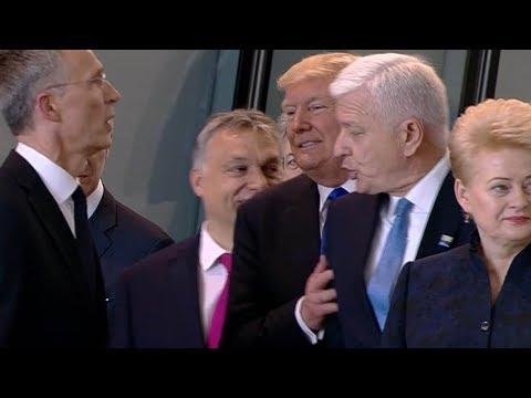 Donald Trump shoves Montenegro Prime Minister