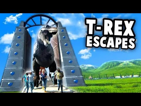 GIANT T-Rex Escapes JURASSIC PARK!  (Mesozoica Dinosaur Park Simulator Gameplay - Operation Genesis?