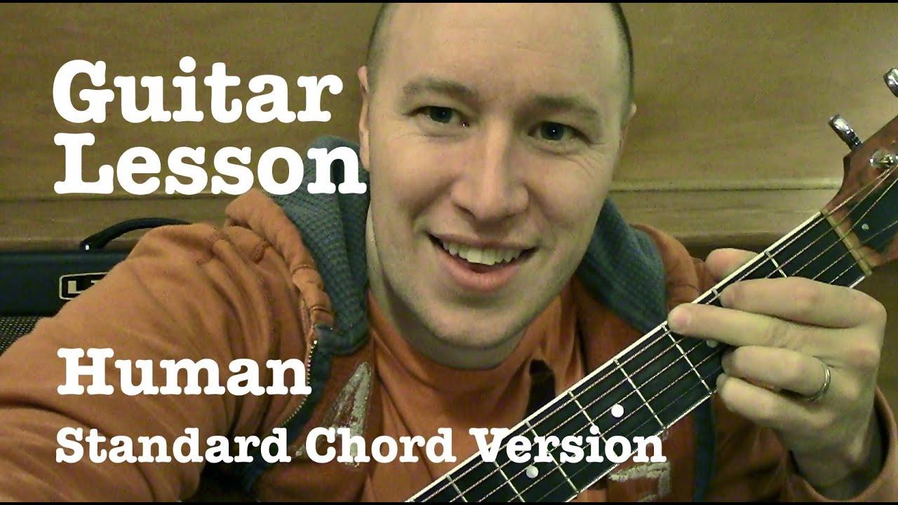 Human Guitar Tutorial Standard Chord Version Christina