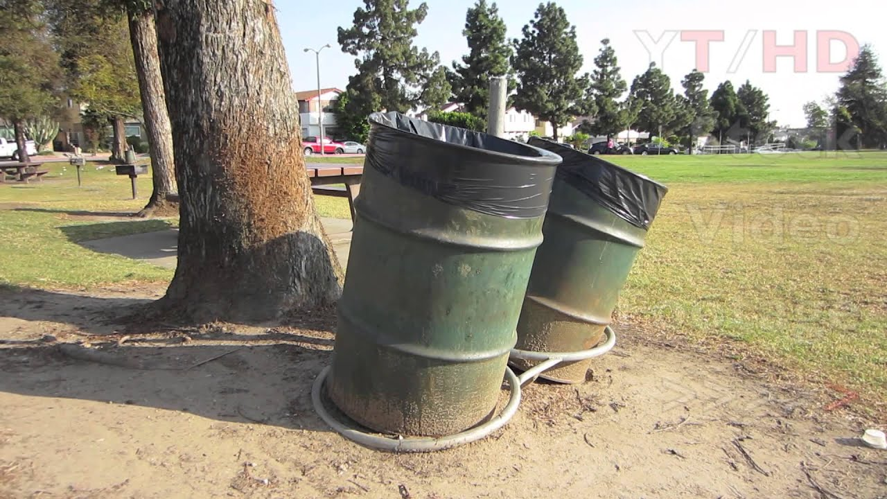 public park commercial outdoor metal trash can barrels for garbage u0026 waste hd stock video footage youtube
