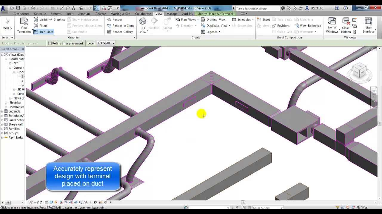 Revit 2014 Air Terminals On Duct Youtube