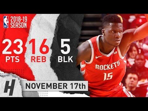 Clint Capela Full Highlights Rockets vs Kings 2018.11.17 - 23 Pts, 16 Reb, 5 Blocks!