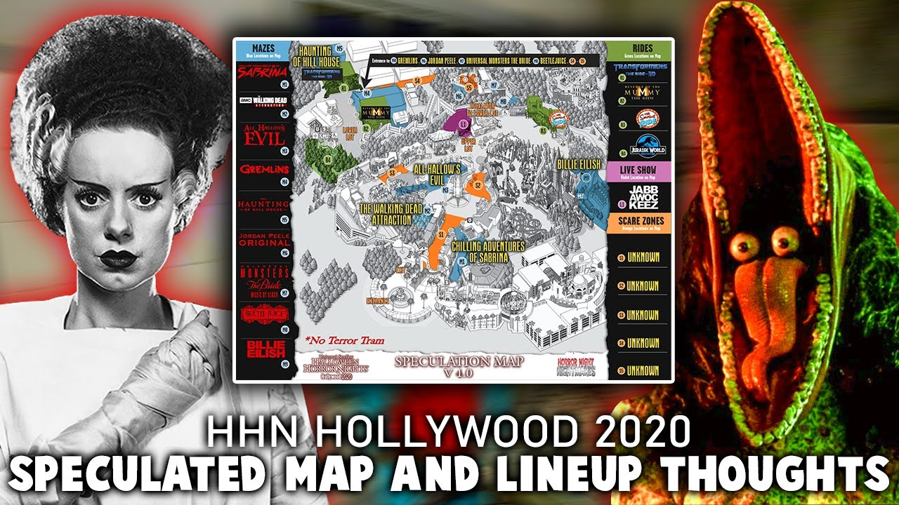 Halloween Horror Nights Hollywood 2020 Maze Map HHN 2020 Hollywood SPECULATED Map Thoughts and what could be