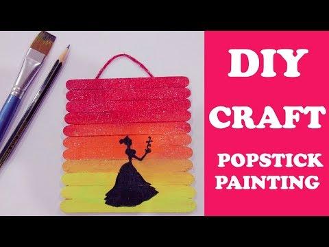 POPSICLE STICK PAINTING - DIY | PAINTING ON ICE CREAM STICKS | POP STICK CRAFT | POP STICK ART