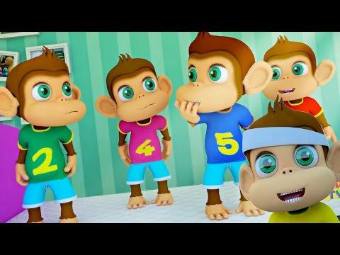 Five Little Monkeys Jumping On The Bed | Nursery Rhymes | Kids Songs