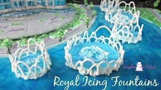 كيك برج خليفة -2- كيفية عمل النوافير من الرويال أيسينج  Burj Khalifa Cake - Royal Icing Fountains