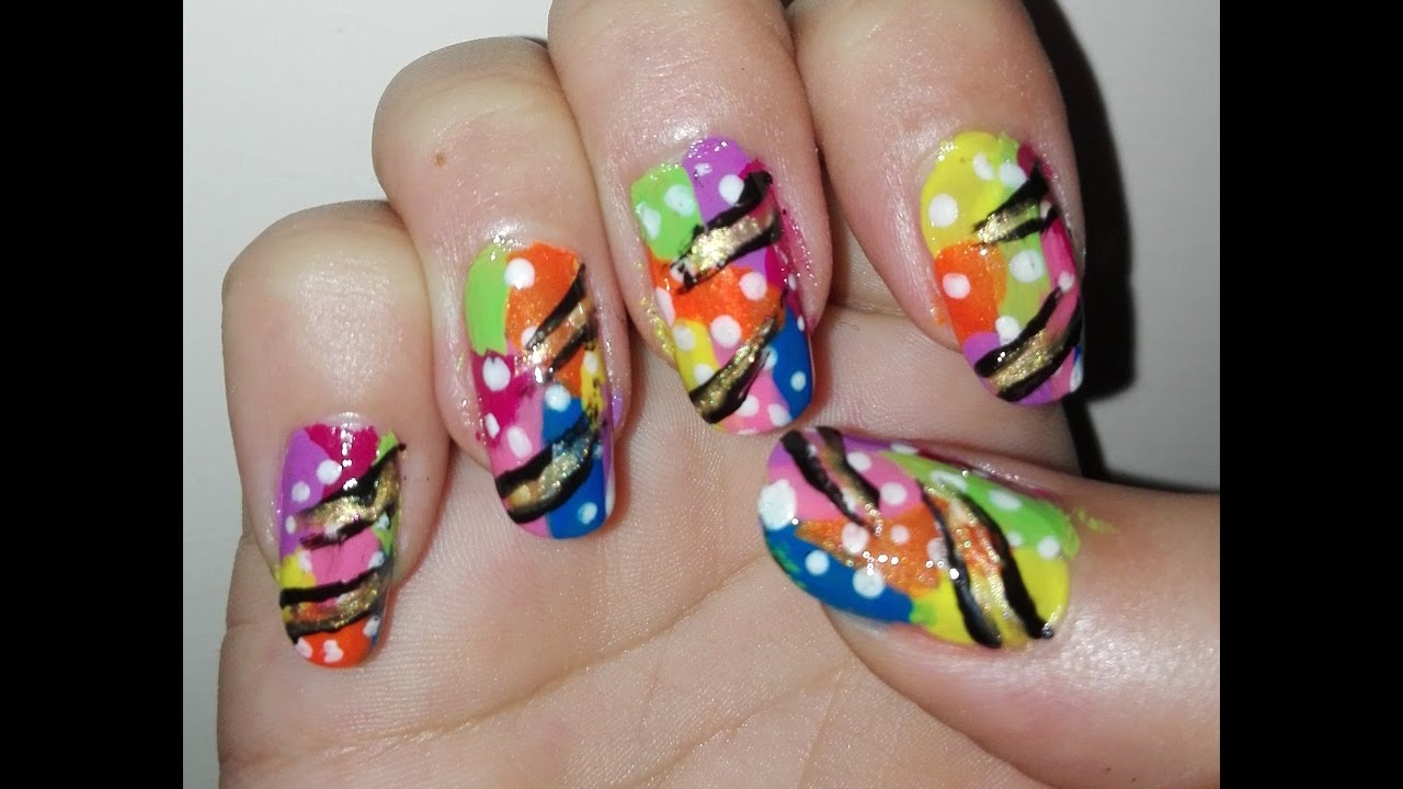 Easy DIY Multicolor Nail Art Tutorial for Long Nails: Rainbow Nail Art  Design: No Tools | Rose Pearl - Easy DIY Multicolor Nail Art Tutorial For Long Nails: Rainbow Nail