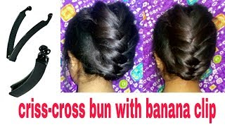 Wedding Criss-Cross bun with banana clip || Quick hairstyle with banana clip | Stylopedia