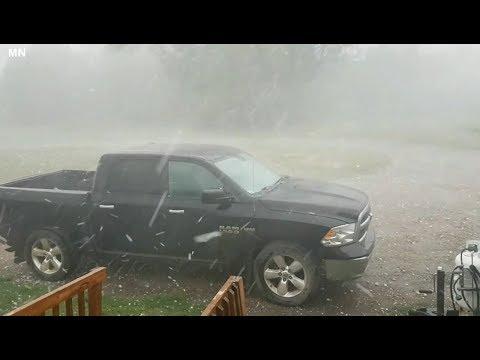 Severe hail storm hits Ponoka County Alberta, Canada - July 13, 2018