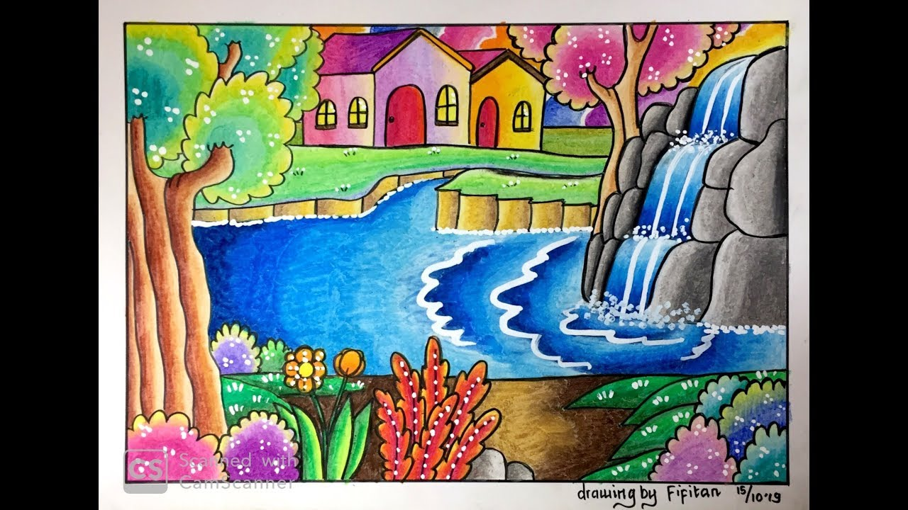 Drawing By Fifitan Air Terjun Creative Ideas