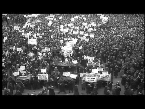 Unemployment Relief Demonstration by workers at Union Square during the Depressio...HD Stock Footage