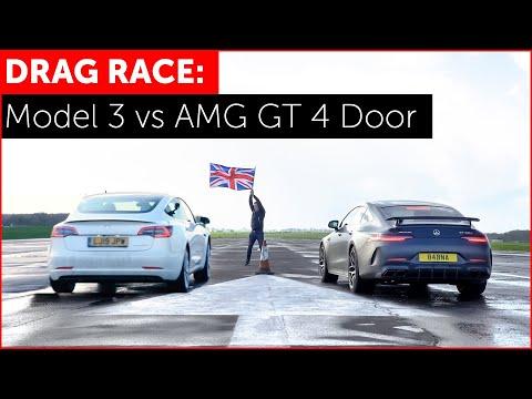 DRAG RACE! Tesla Model 3 Performance vs Mercedes-AMG GT 63 S 4 Door Edition 1