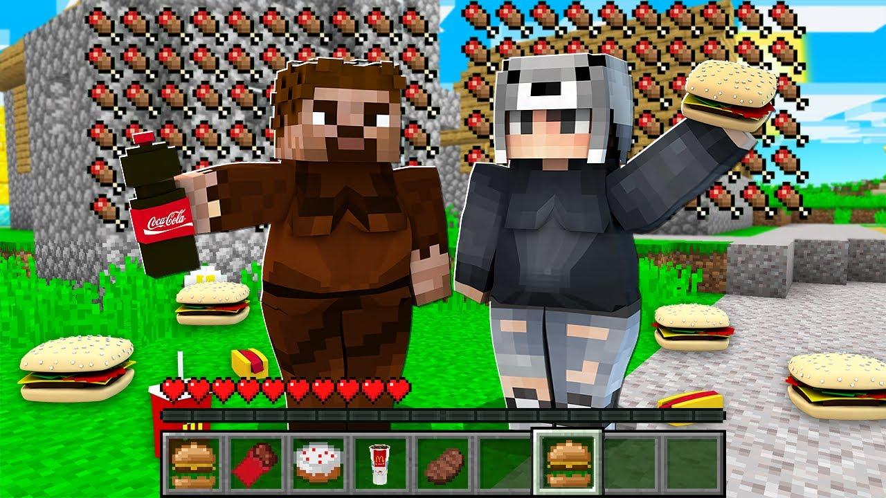 1 GÜNLÜĞÜNE ŞİŞMAN OLDUK 🍕😱 - Minecraft